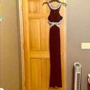 Black prom dress with silver gems